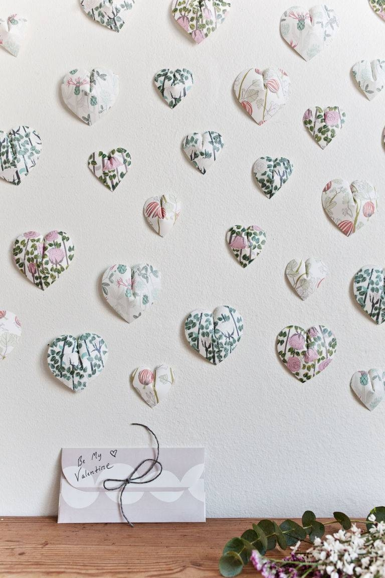 Create This Pretty 3d Paper Heart Wall Hanging In 6 Easy Steps Pertaining To Current Heart 3d Wall Art (View 16 of 20)