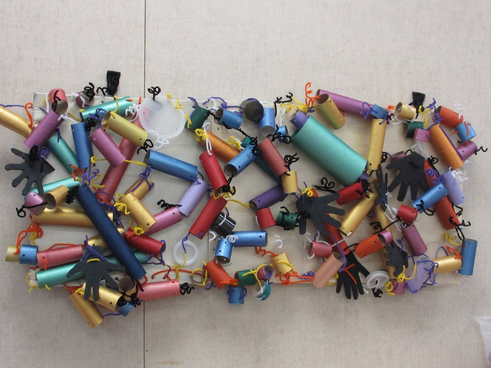 Creative Art Preschool: Recycled Paper Towel Tubes Abstract Wall Art For Recent Recycled Wall Art (View 9 of 30)