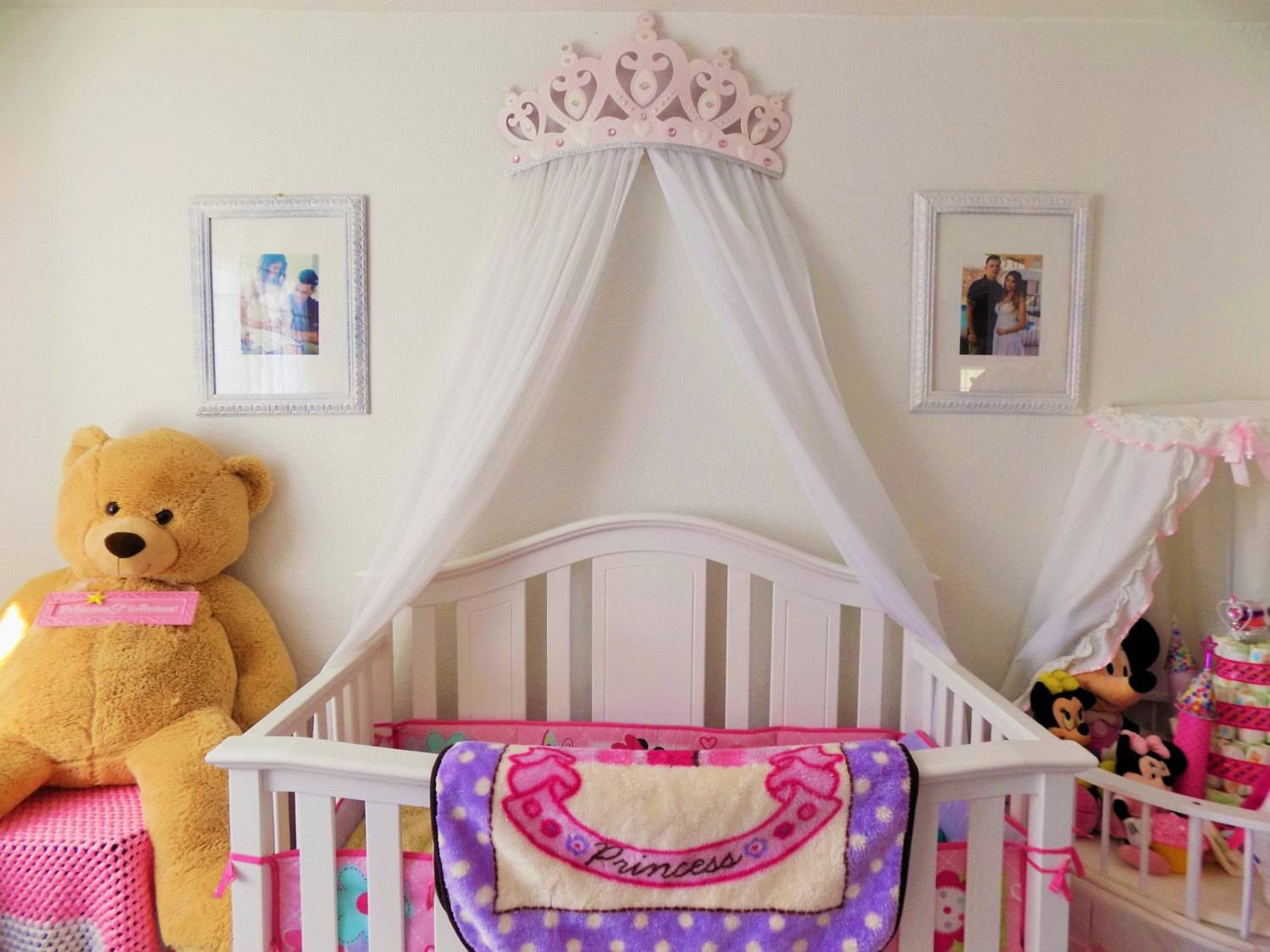 Crib Canopy Bed Crown Pink Princess Wall Decor Throughout Recent 3d Princess Crown Wall Art Decor (View 14 of 20)