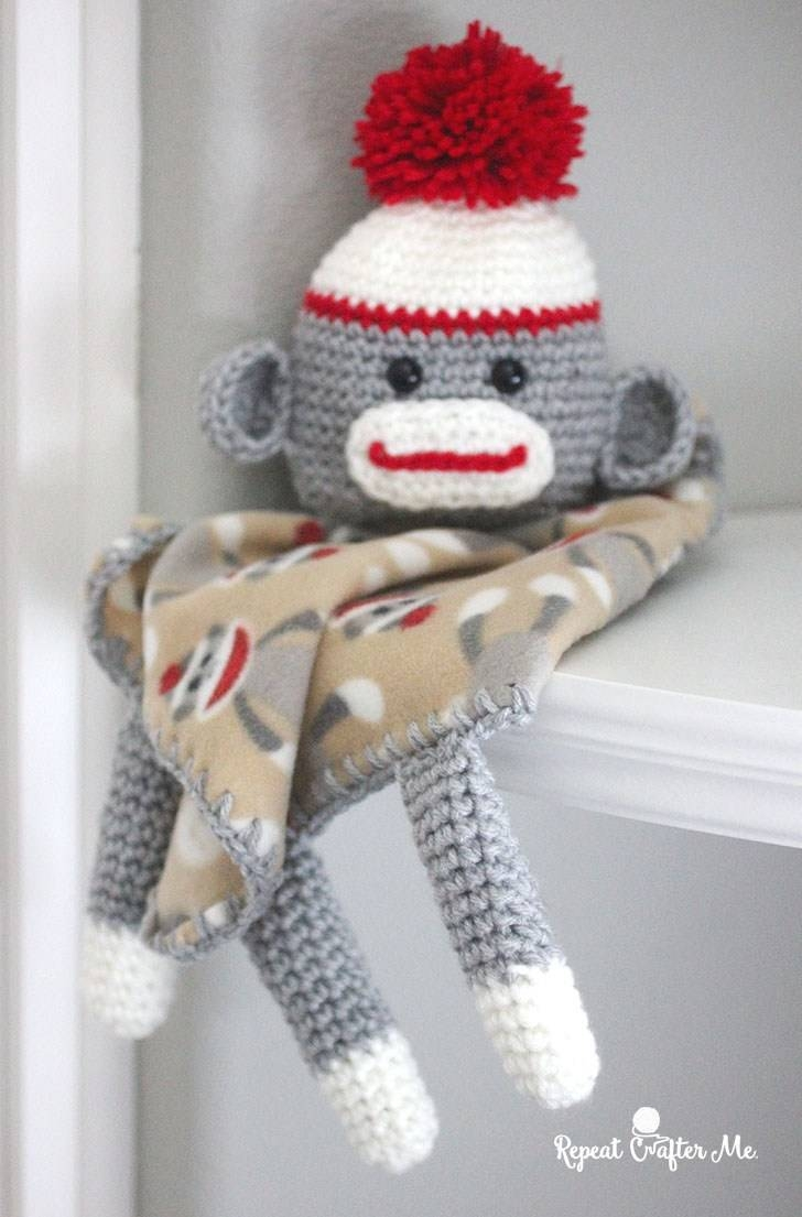 Crochet Sock Monkey Lovey Blanket – Repeat Crafter Me With Latest Sock Monkey Wall Art (View 16 of 30)