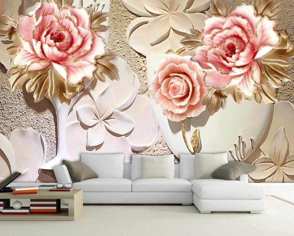 Custom 3D Wallpaper Murals 3D Flower Wallpaper Relief Flower 3D With Current Flowers 3D Wall Art (View 8 of 20)
