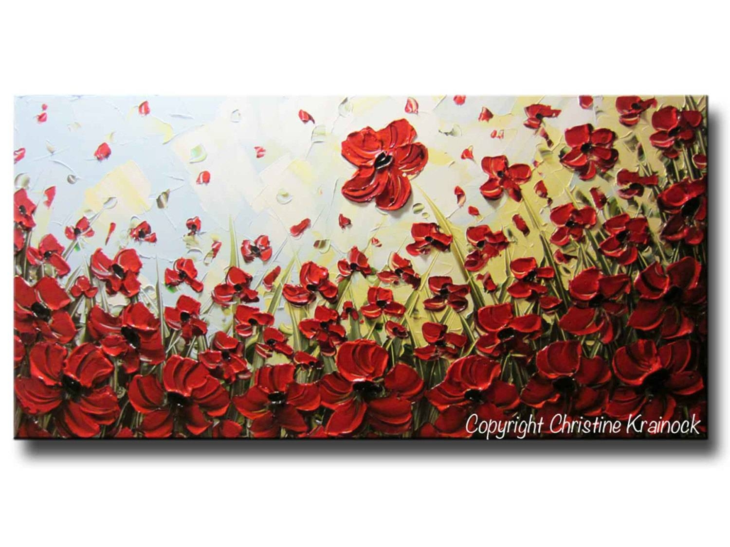 Custom Art Abstract Painting Red Poppy Flowers Large Art Pertaining To Most Up To Date Red Poppy Canvas Wall Art (View 6 of 20)