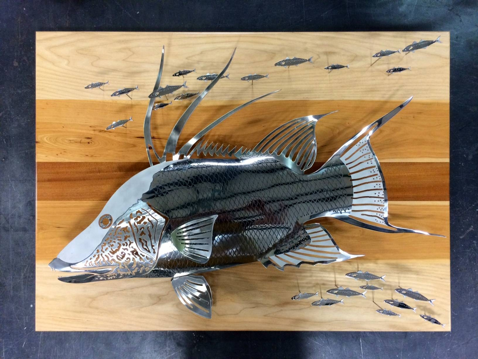 Custom Artwork, Sculptures And Furniture Gallery For Most Up To Date Stainless Steel Fish Wall Art (View 6 of 17)