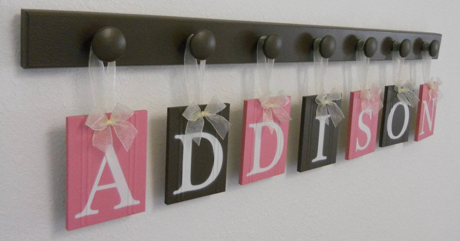 Custom Baby Name Wall Hanging Sign Set Includes Letters And With Most Popular Baby Name Wall Art (View 7 of 25)