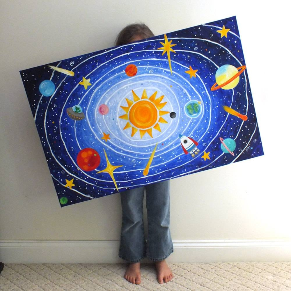 Custom Children's Art Solar System 36X24 Acrylic Inside Most Current Solar System Wall Art (View 8 of 25)