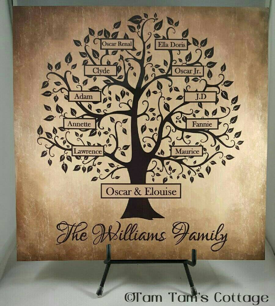 Custom Family Tree Sign Family Tree Tile Personalized Intended For 2017 Personalized Family Wall Art (View 19 of 20)