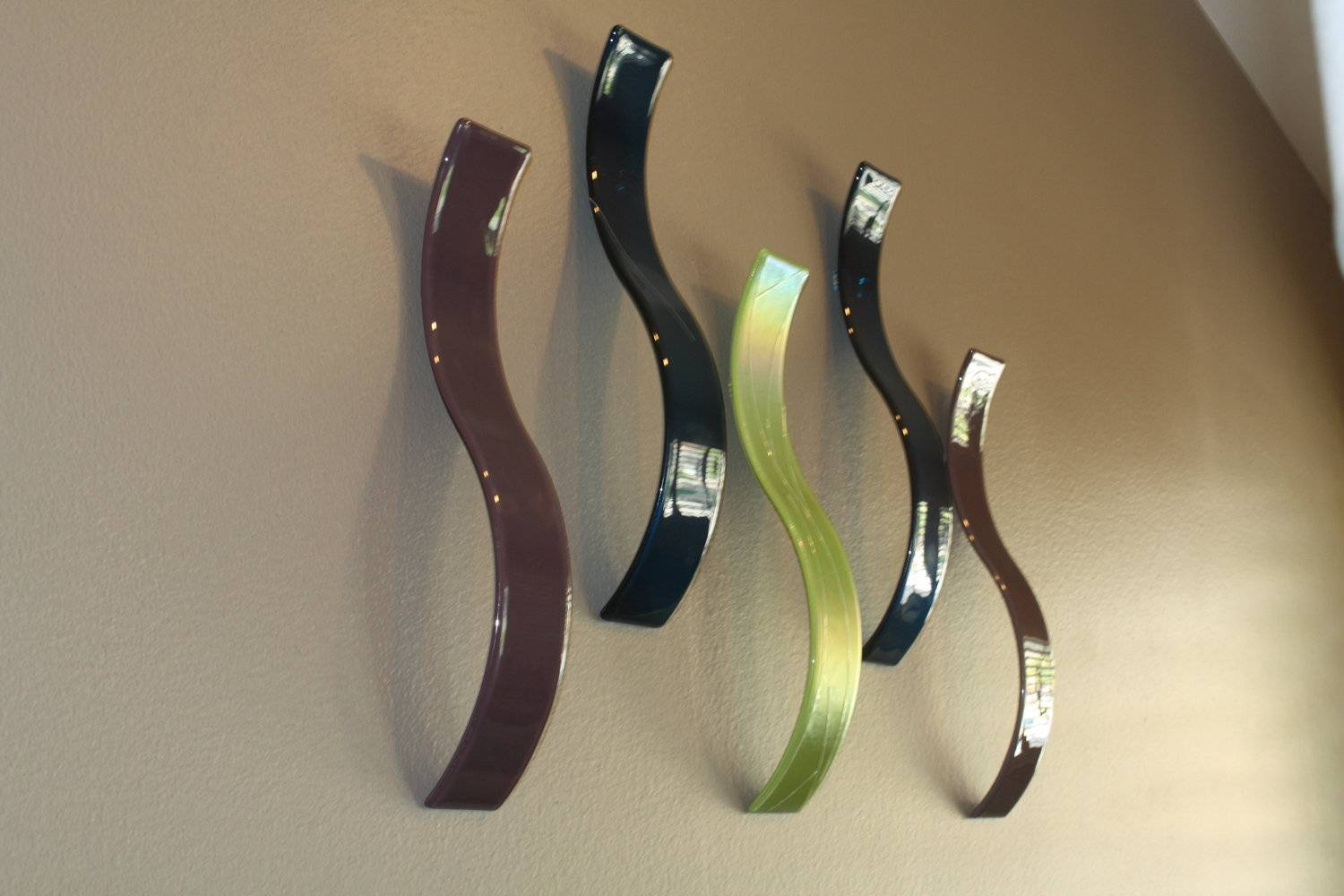Custom Fused Glass Wall Art / Sculpture Waves Set Of 5 Inside Most Recent Fused Glass Wall Art (View 13 of 25)