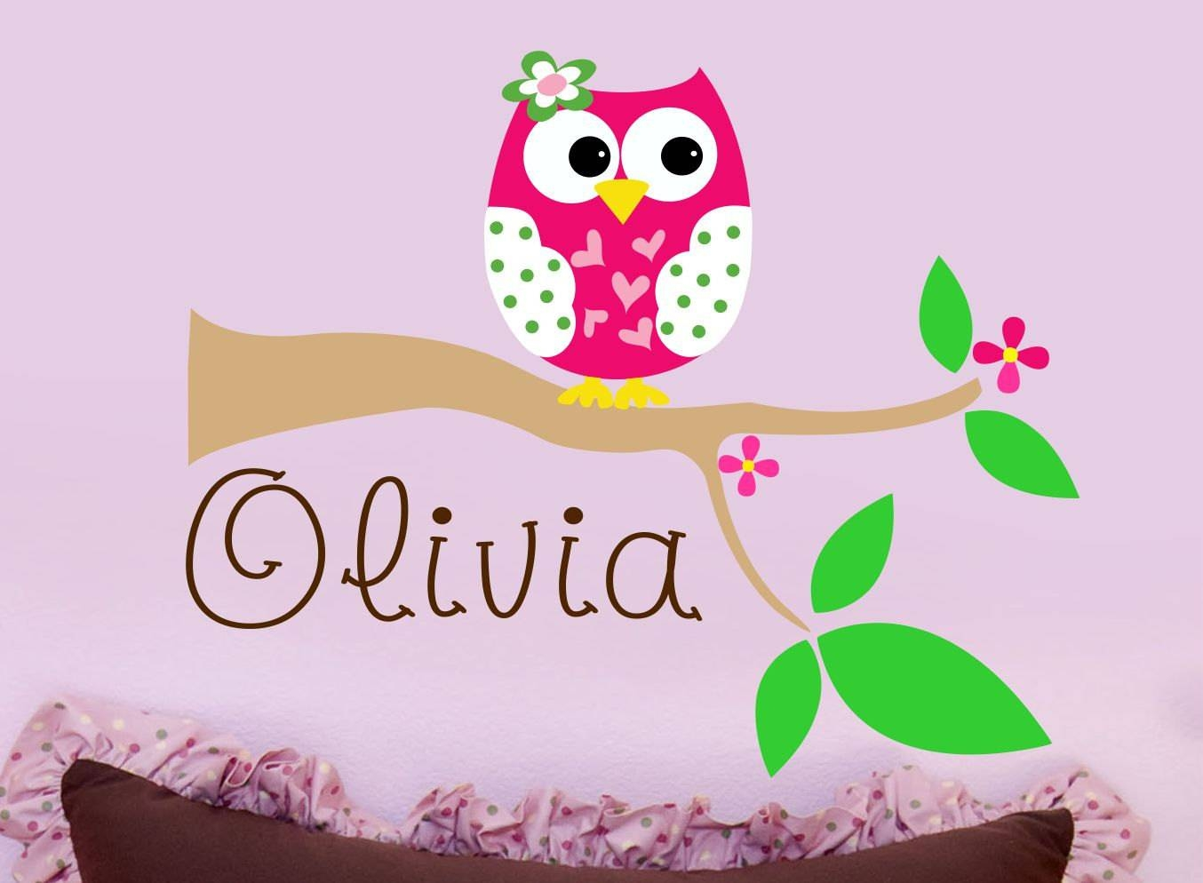 Custom Girls Name With Owl Wall Decal // Personalized Name Inside Best And Newest Baby Name Wall Art (View 14 of 25)