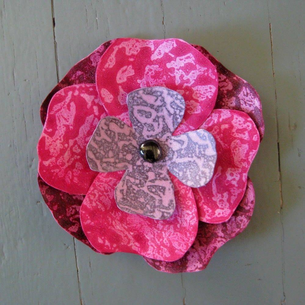 Custom Handmade Upcycled Metal Hibiscus Flower Wall Art In Pink Intended For Most Recently Released Burgundy Wall Art (View 6 of 15)