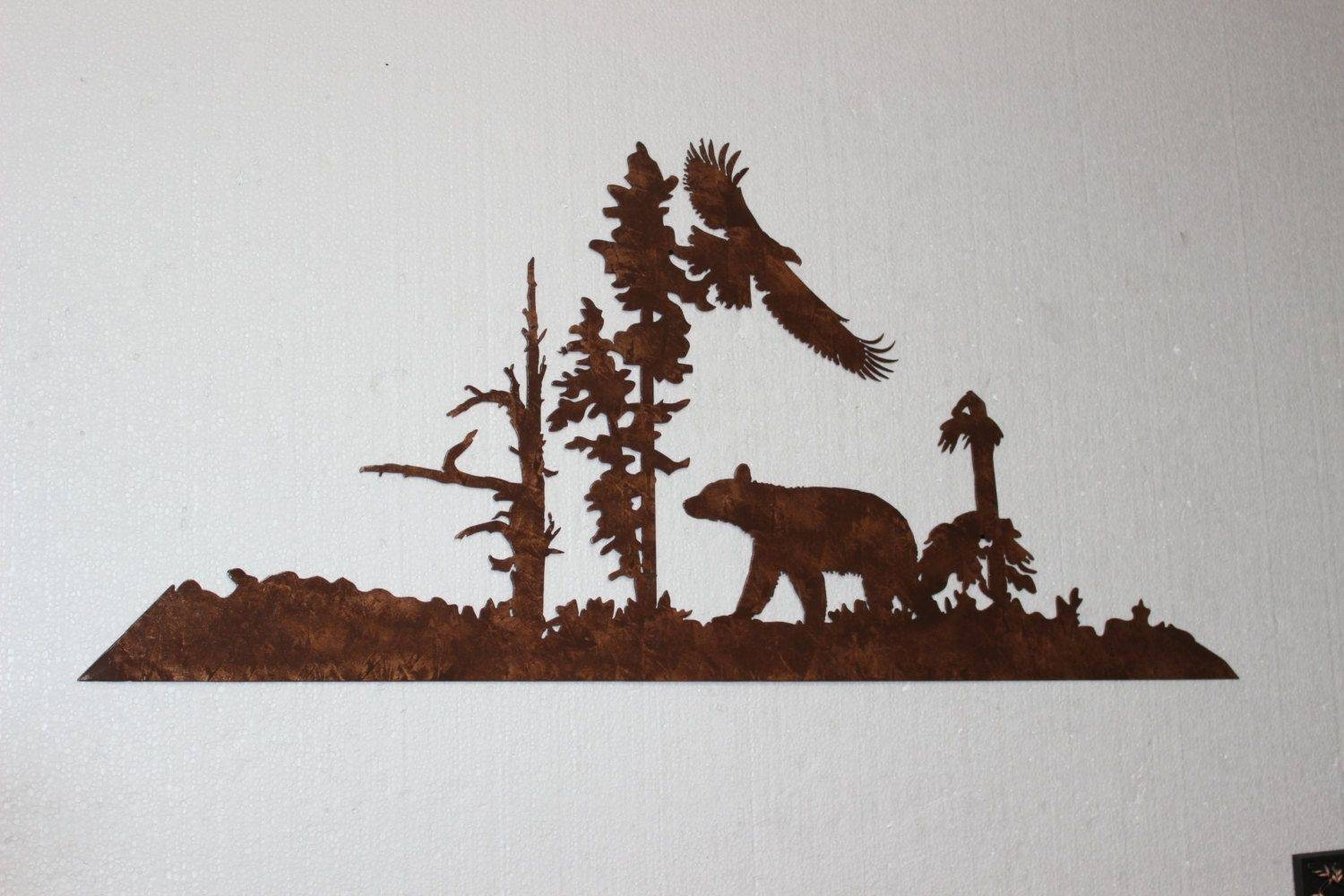 Custom Made Bear And Eagle Metal Wall Art Country Rustic Decor In Newest Country Metal Wall Art (View 3 of 30)