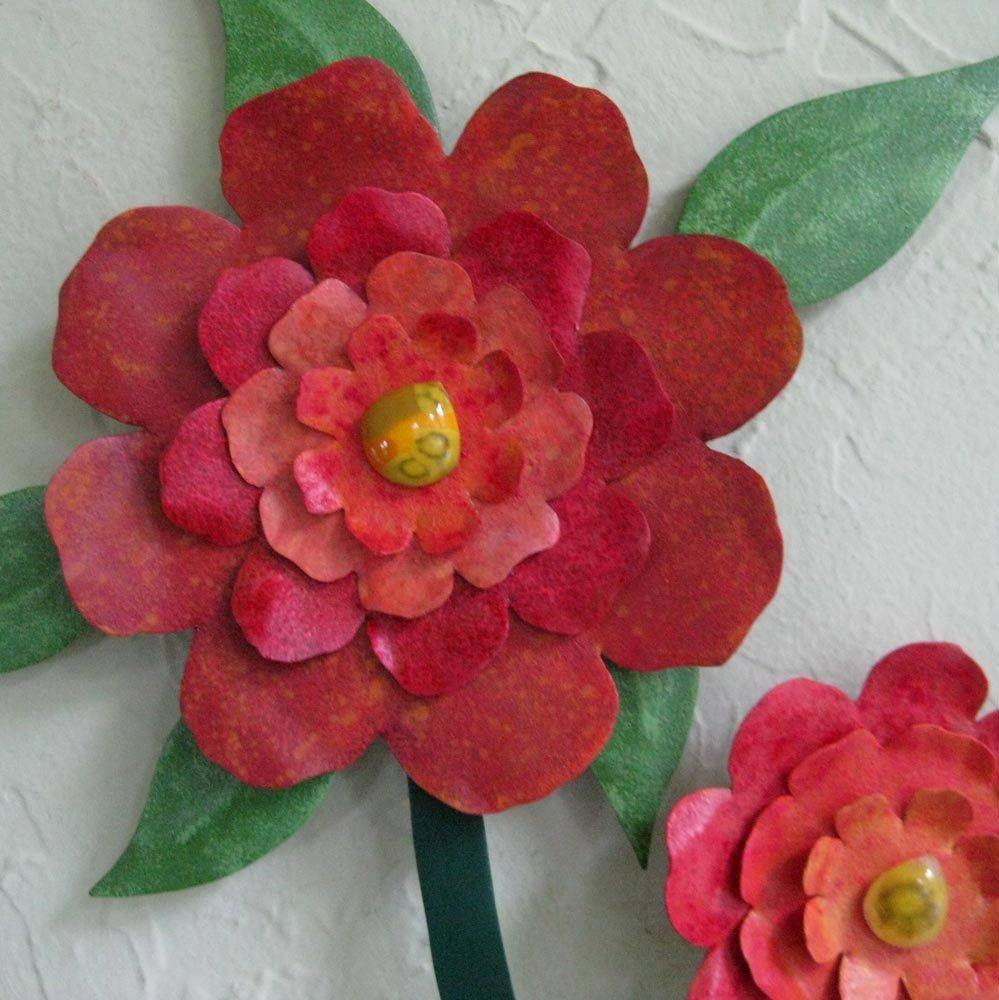Custom Made Flower Wall Art Sculpture Large Metal Camellia Vase Intended For Newest Red Flower Metal Wall Art (View 11 of 25)