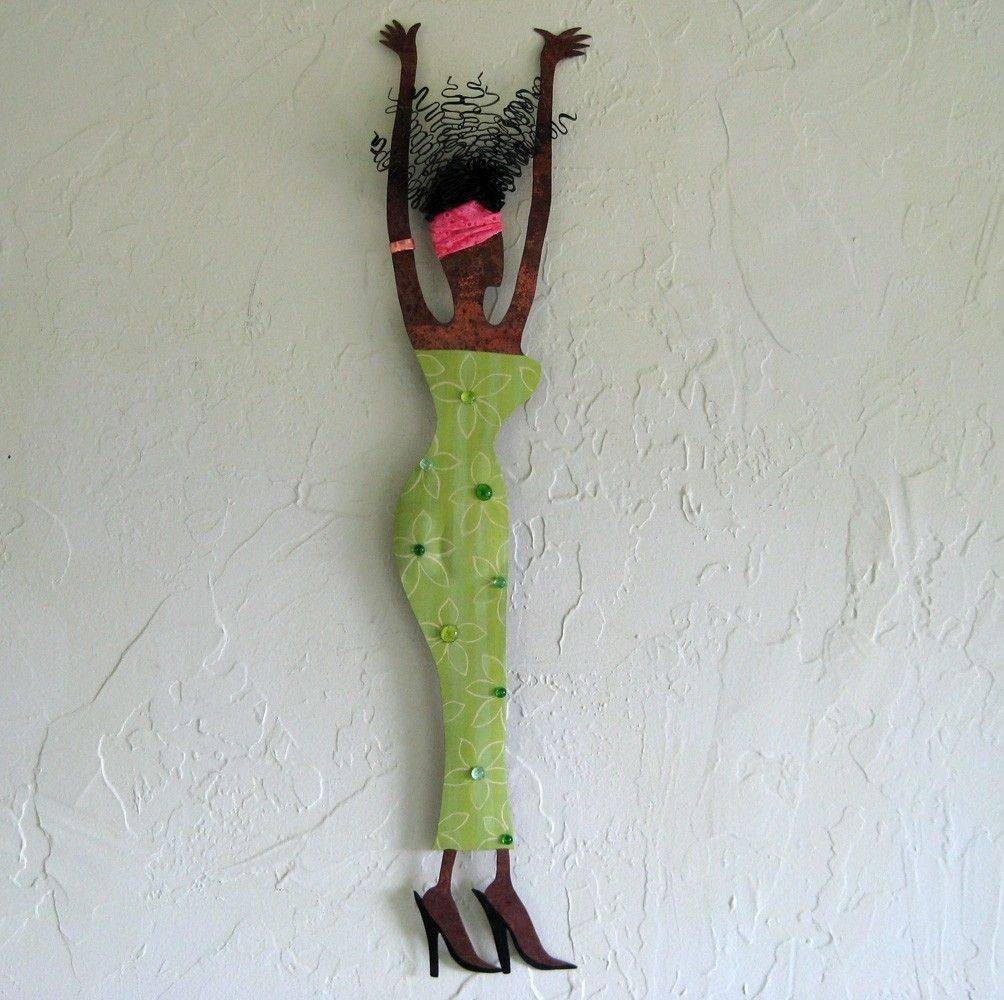 Custom Made Handmade Upcycled Metal Exotic African Lady Wall Art Intended For Best And Newest Lime Green Metal Wall Art (View 6 of 20)