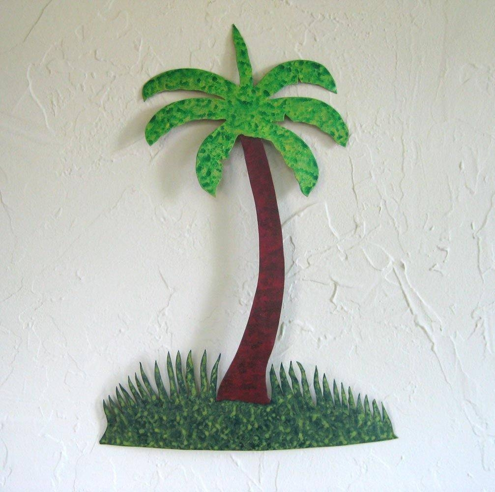 Custom Made Handmade Upcycled Metal Palm Tree Wall Art Decor Throughout Best And Newest Palm Tree Metal Art (View 7 of 25)