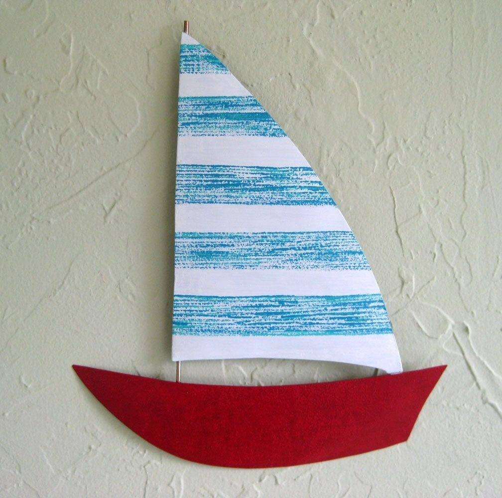 Custom Made Handmade Upcycled Metal Sailboat Wall Art Sculpture In Inside 2017 Metal Sailboat Wall Art (View 13 of 30)