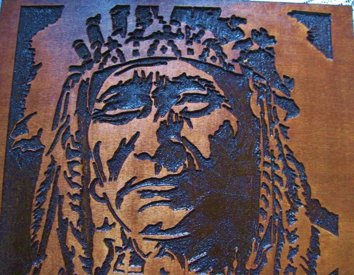 Custom Made Native American Indian Chief Handmade Wood Carving Regarding Most Current Native American Wall Art (View 4 of 25)
