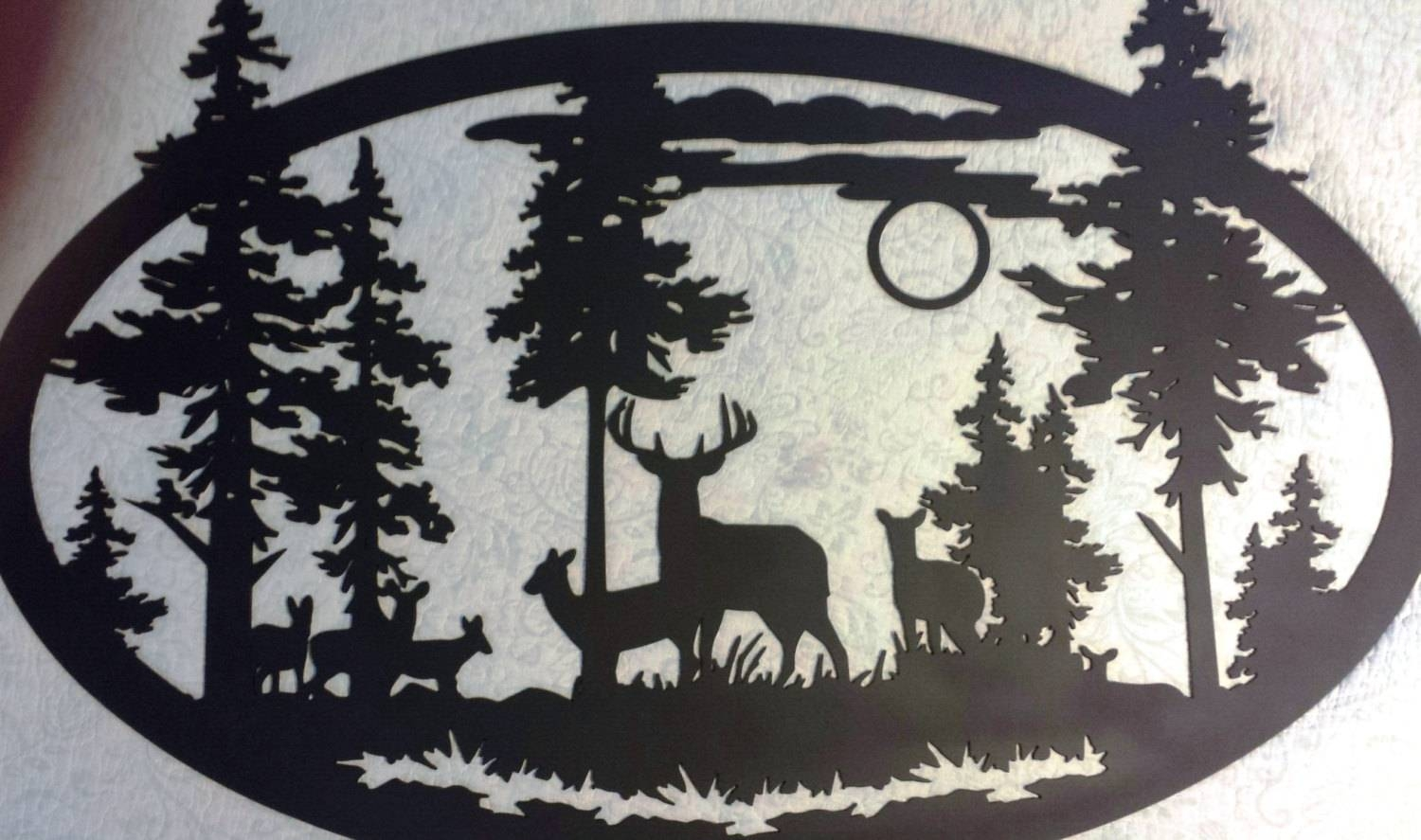 Custom Metal Large Oval Deer Scene Wall Art Can Be With Regard To Newest Mountain Scene Metal Wall Art (View 27 of 30)