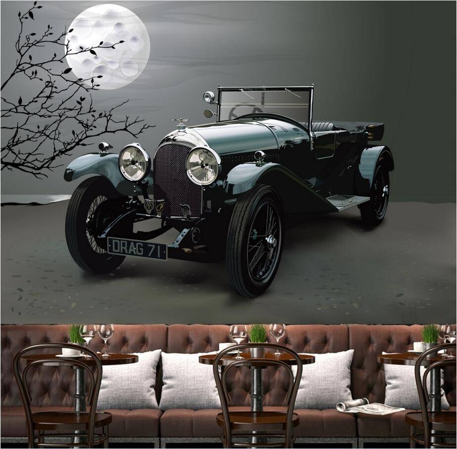 Custom Mural Photo 3D Wallpaper Retro Art Car Background Wall Intended For Current Cars 3D Wall Art (View 10 of 20)