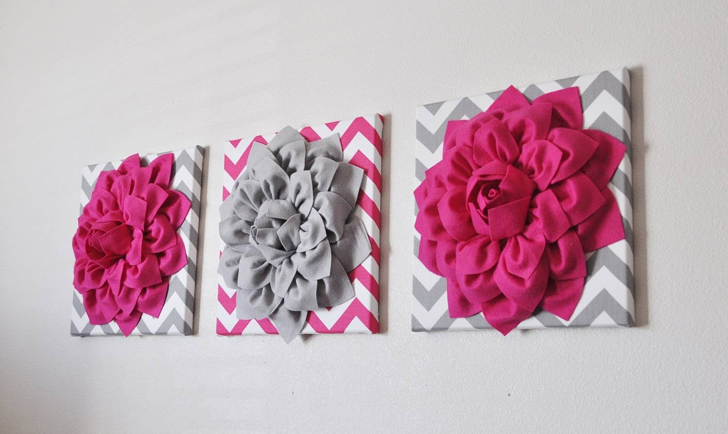 Custom Nursery Decor Flower Wall Art Hot Pink And Grey Throughout Most Recent Pink Flower Wall Art (View 8 of 20)