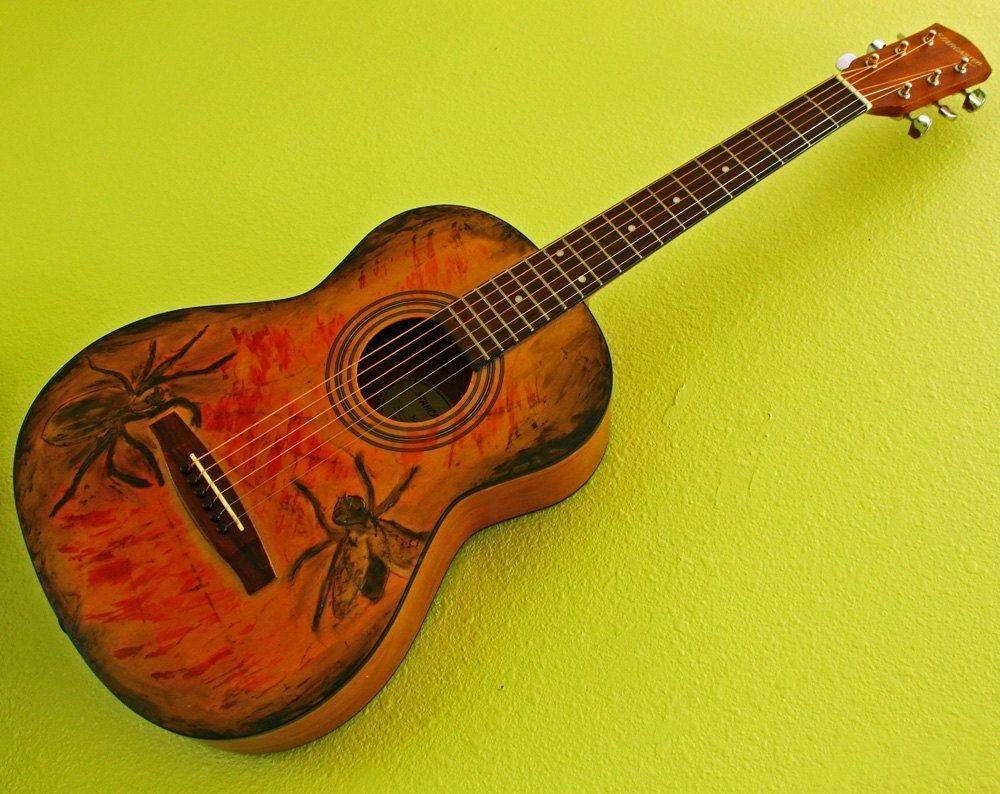 Custom Playable Guitar Wall Art With Spider Versus Fly Design For Most Up To Date Guitar Metal Wall Art (View 5 of 30)