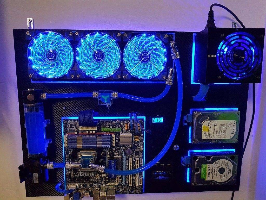 Custom Wall Mounted Water Cooled Pc Home Computer, Carbon Fiber With Most Current Computer Wall Art (View 15 of 20)