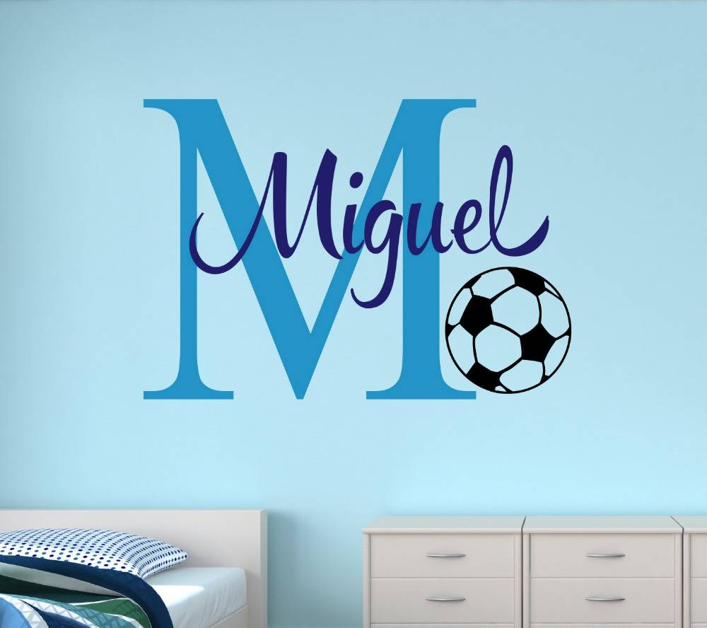 Customize Name Soccer Wall Stickers For Kids Room Personalized Throughout Newest Baby Name Wall Art (View 15 of 25)
