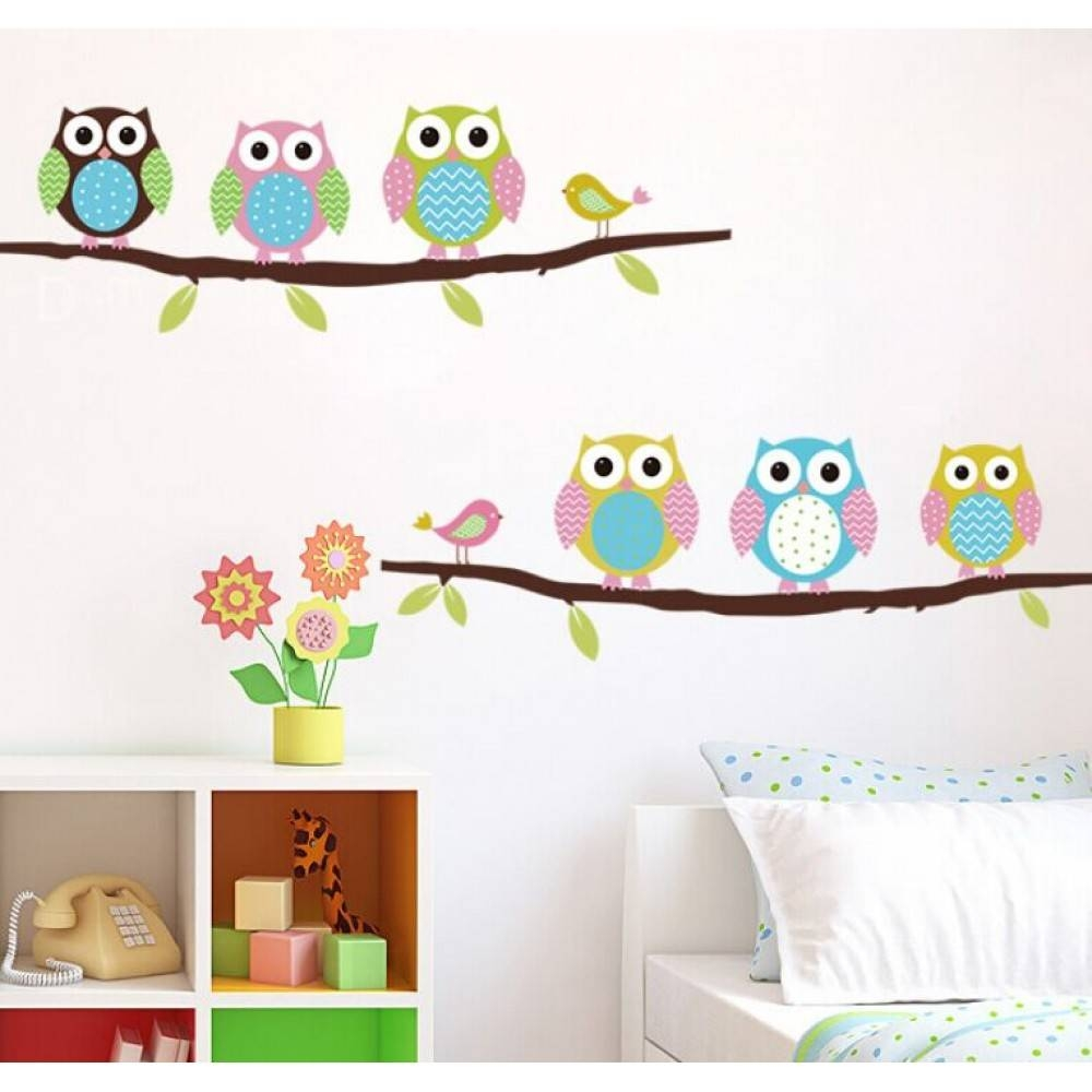 Cute Owl Wall Sticker On The Branch Inside Most Current Owl Wall Art Stickers (Gallery 1 of 15)