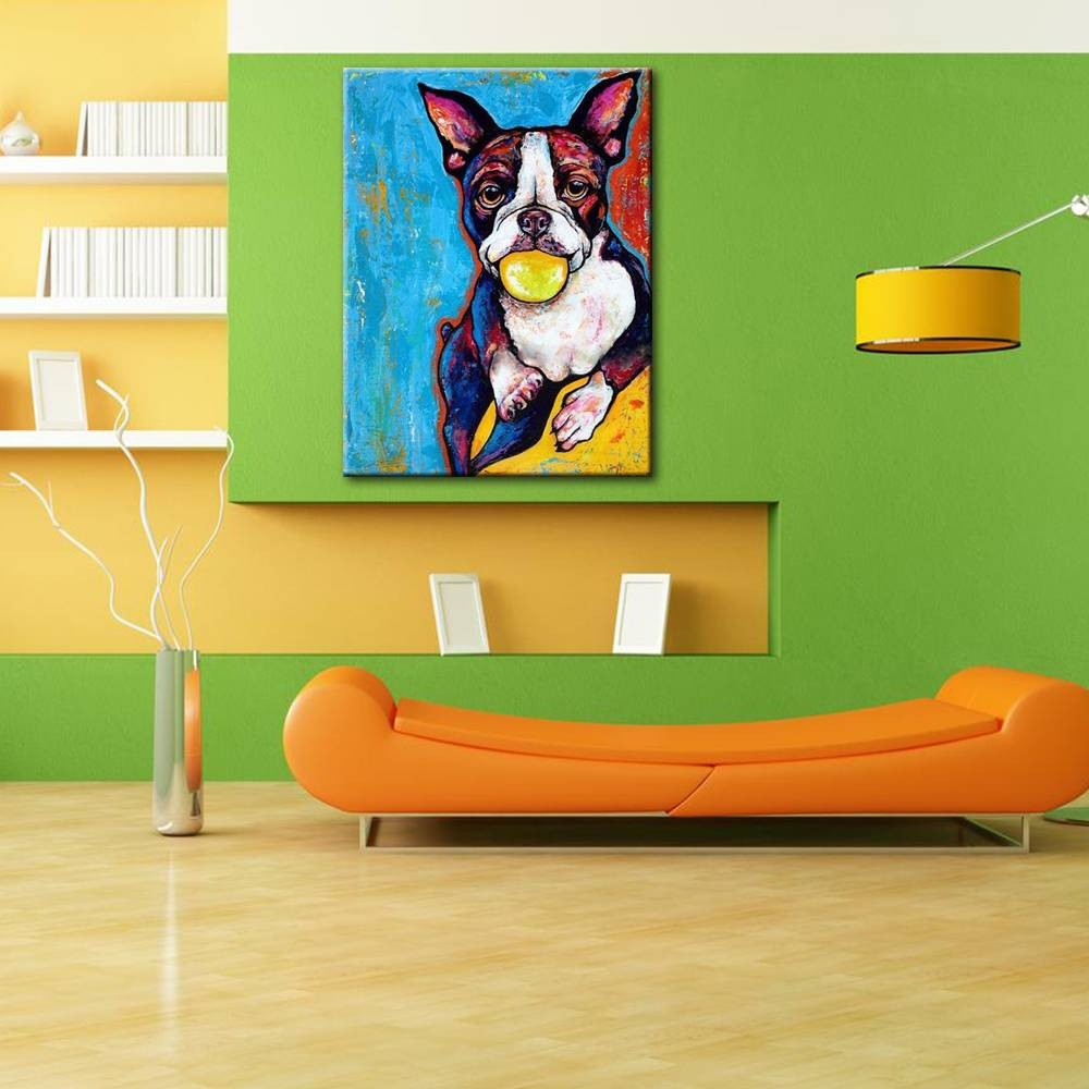 Cute Puppy Dog Portrait Oil Painting Modern Animal Canvas Wall Art Within Most Recently Released Animal Canvas Wall Art (View 19 of 20)