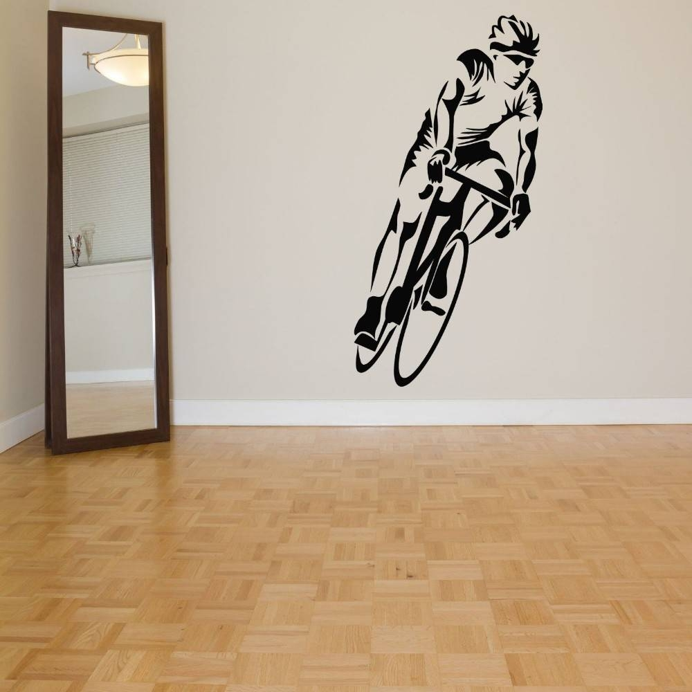 Cycling Sticker Bicycle Bike Decal Muurstickers Posters Vinyl Art With Regard To Most Popular Cycling Wall Art (View 11 of 25)
