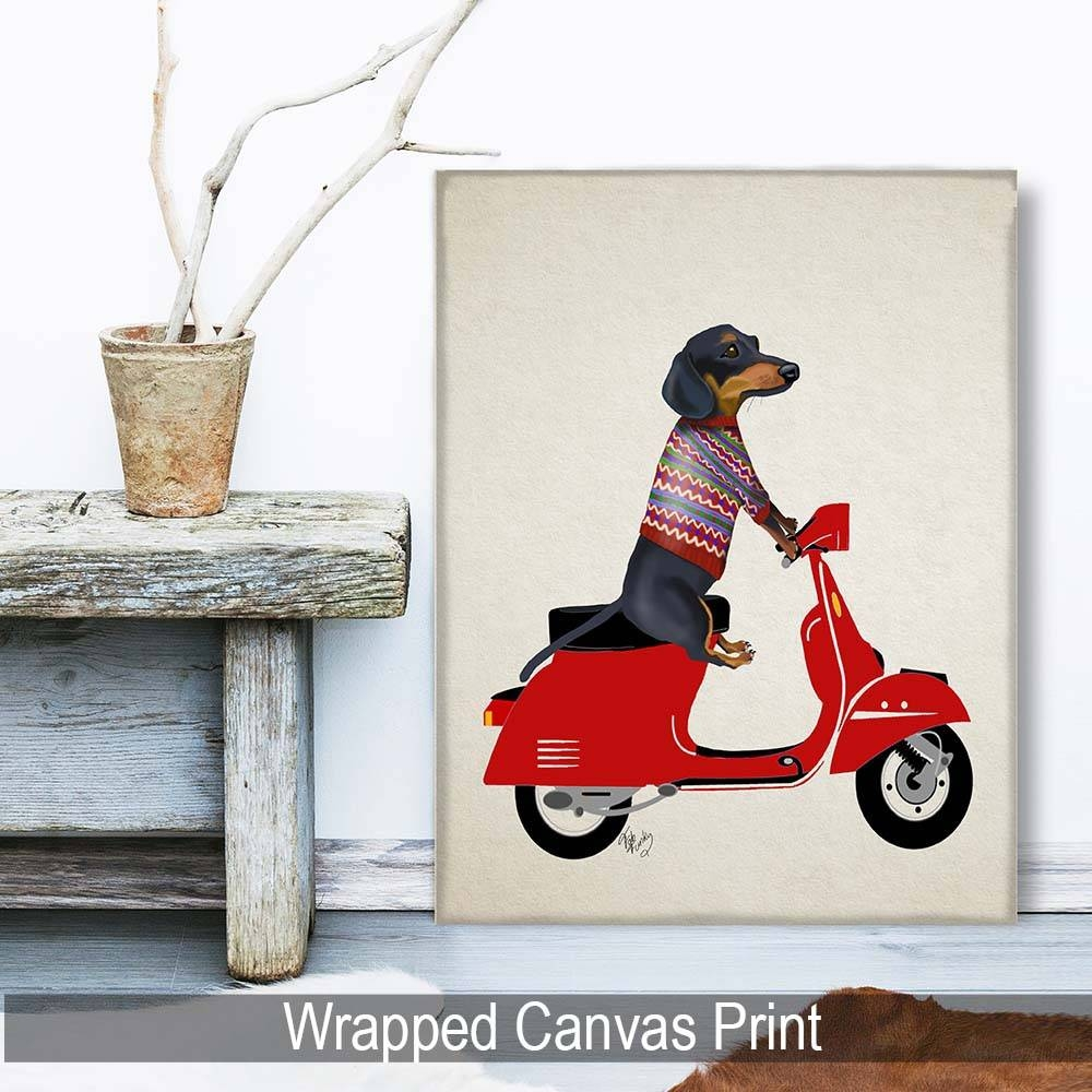 Dachshund On A Moped | Dogs And Cats, Loopylolly Art Prints | Fab Within Current Dachshund Wall Art (View 10 of 22)