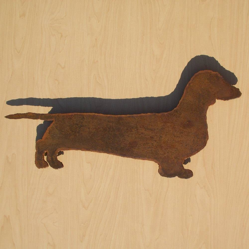 Dachshund Wall Art 22 Wide Silhouette Metal Dog Art With Current Dachshund Wall Art (View 13 of 22)