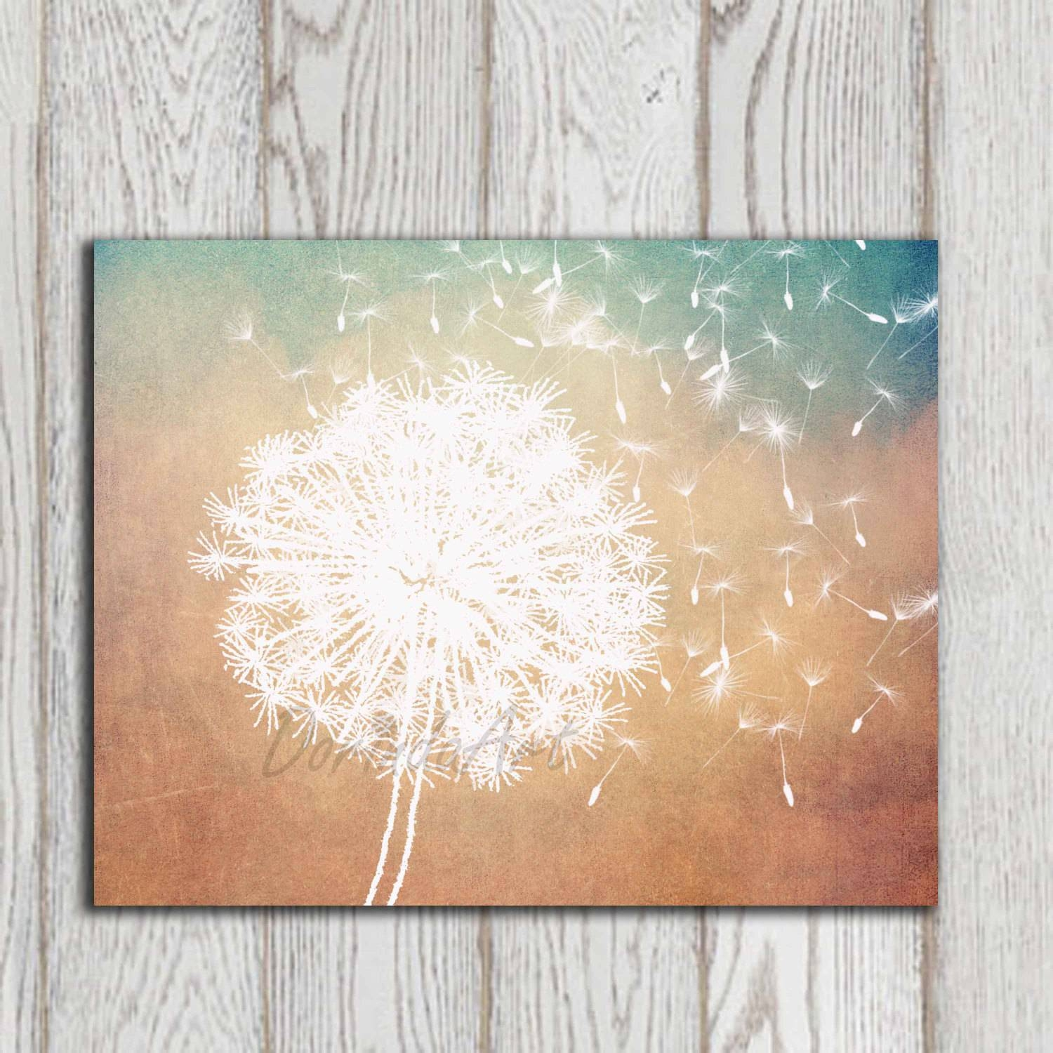Dandelion Poster Print Dandelion Wall Art Printable Copper In Most Current Turquoise And Brown Wall Art (View 5 of 25)