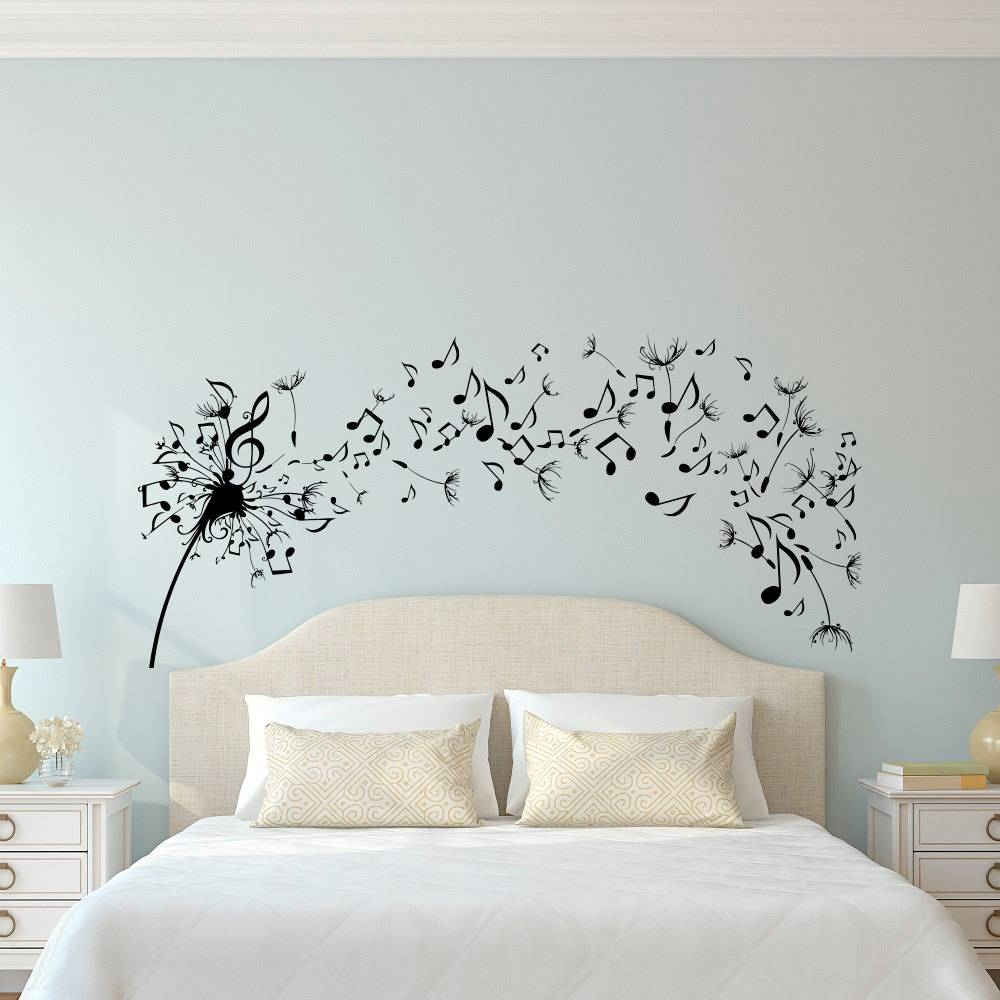 Dandelion Wall Decal Bedroom Music Note Wall Decal Dandelion In Newest Music Note Art For Walls (View 6 of 25)