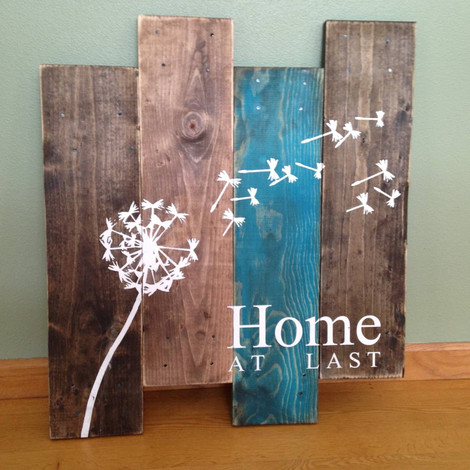 Dandelion Wall Hanging/home At Last/ Rustic Wall Decor/teal Within Most Recent Turquoise And Brown Wall Art (View 15 of 25)