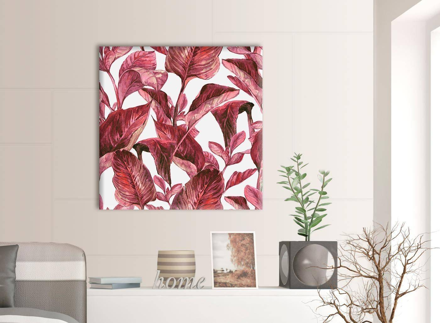 Dark Burgundy Red White Tropical Leaves Canvas Wall Art – 79Cm With Recent Burgundy Wall Art (View 7 of 15)