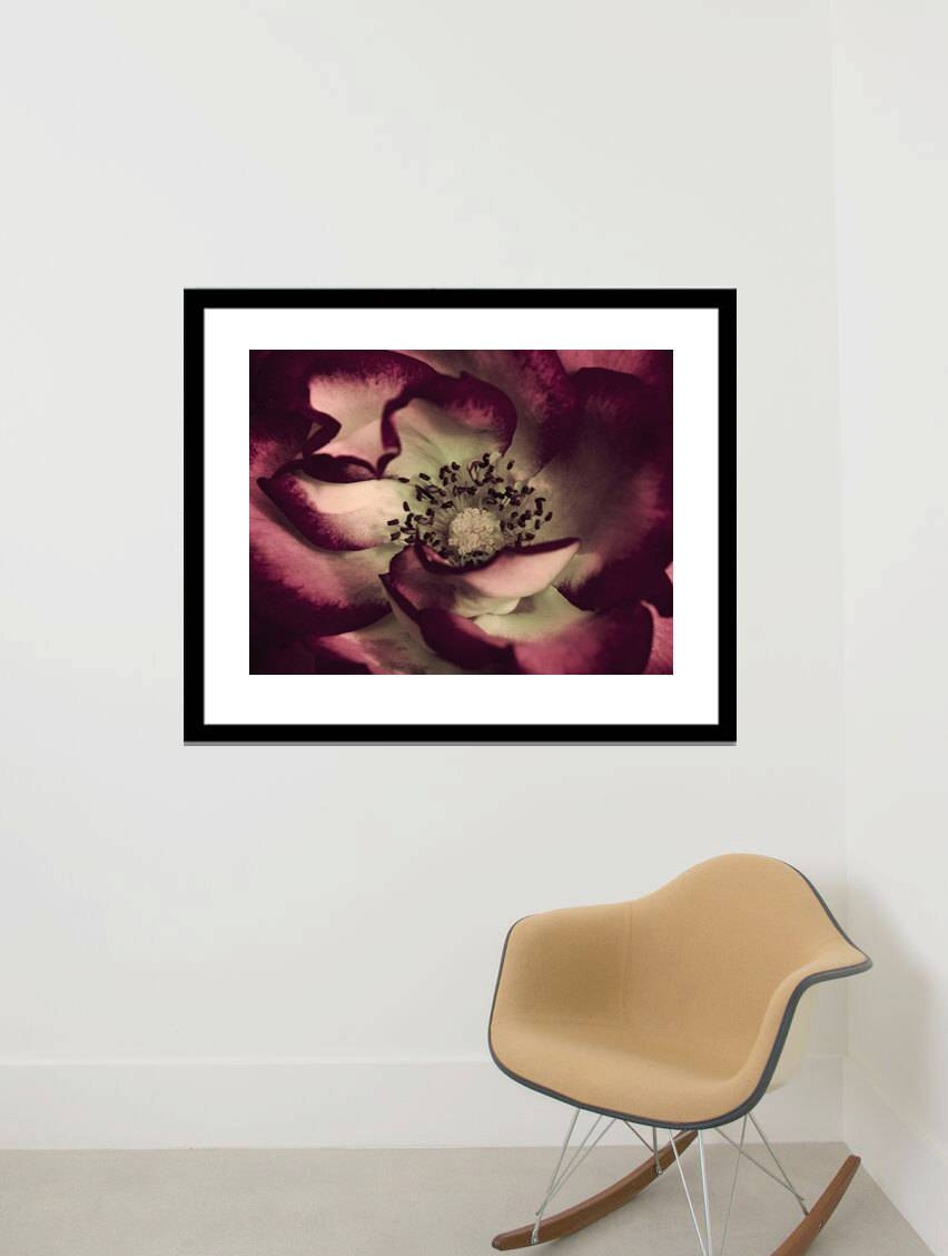 Dark Red Floral Art Print | Burgundy Mint Living Room | Macro Art With Regard To Most Up To Date Burgundy Wall Art (View 8 of 15)