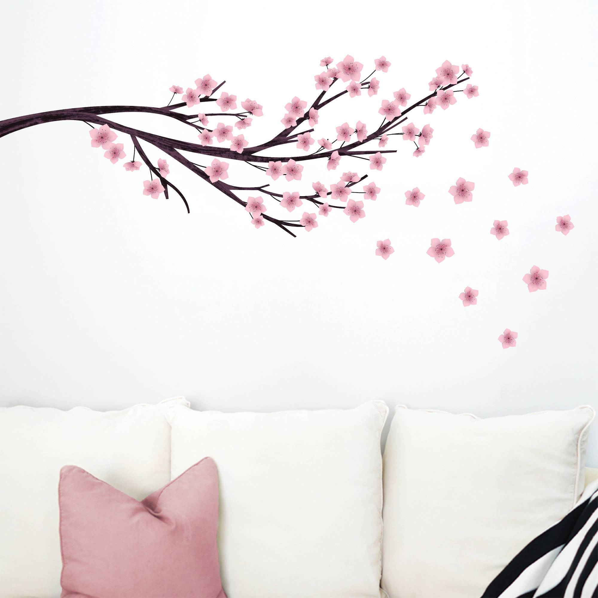 Dcwv Vinyl Decal Cherry Blossom With Birds Wall Decal – Walmart Inside Most Up To Date Walmart Wall Stickers (View 14 of 25)