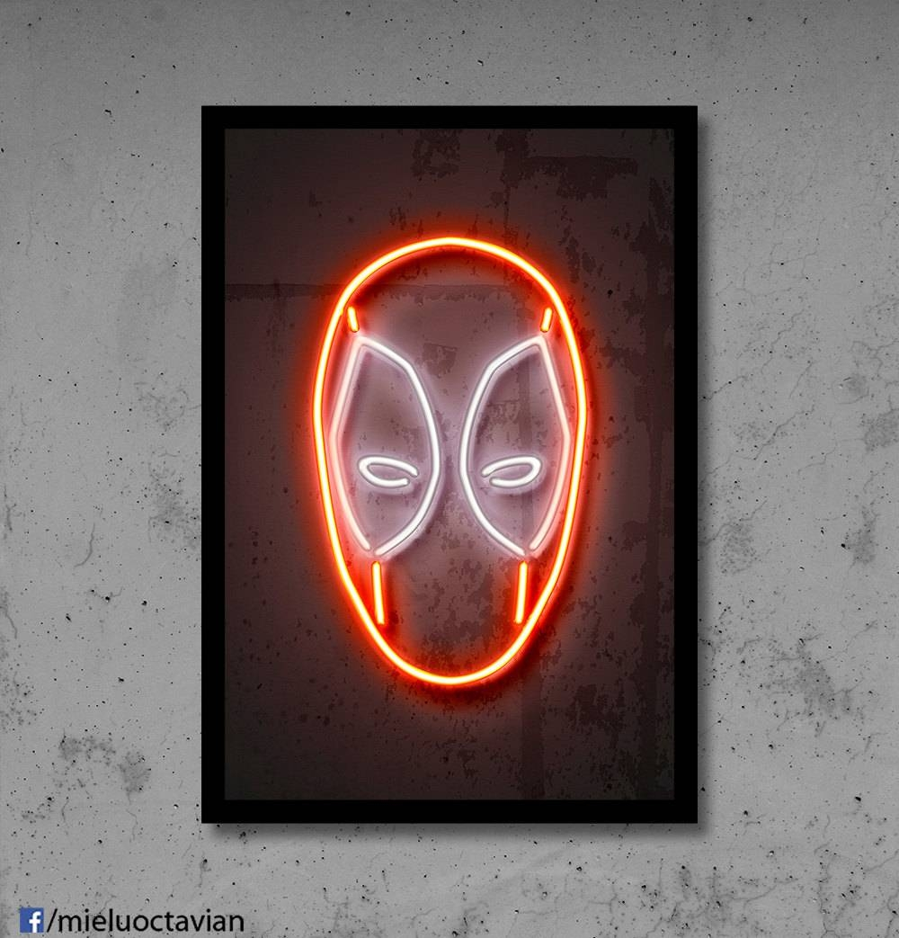 Deadpool Wall Art Deadpool Nursery Deadpool Neon Superhero For Most Popular Superhero Wall Art For Kids (View 4 of 25)