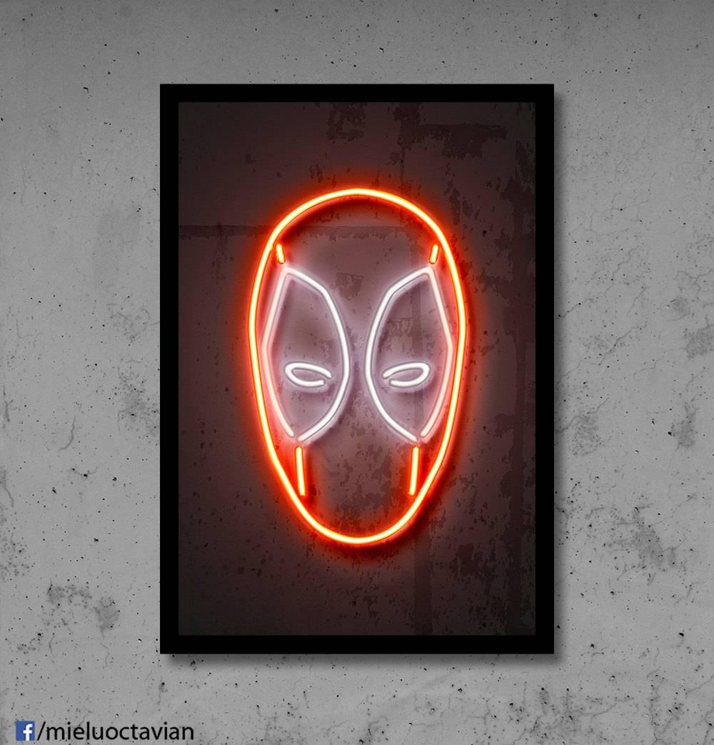 Deadpool Wall Art Deadpool Nursery Deadpool Neon Superhero For Most Popular Superhero Wall Art For Kids (View 17 of 25)