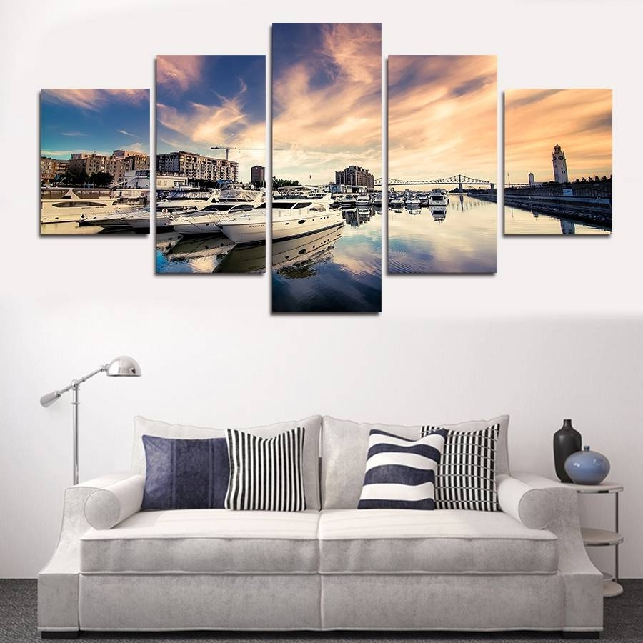 Debonair New Piece Sea Plus Ship Big Size Wall Art Home Decor Set With 2018 Sofa Size Wall Art (View 4 of 20)