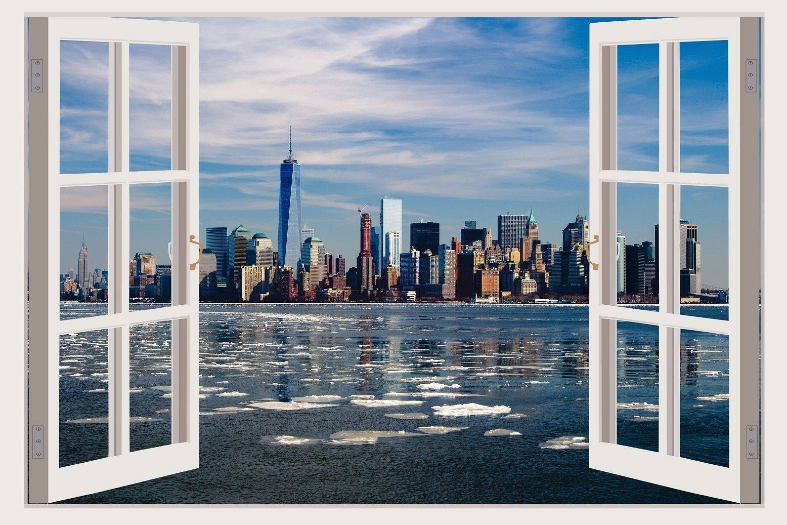 Decal 3D Window Wall View New York Sticker Removable Vinyl Wall Within Current New York 3D Wall Art (View 4 of 20)