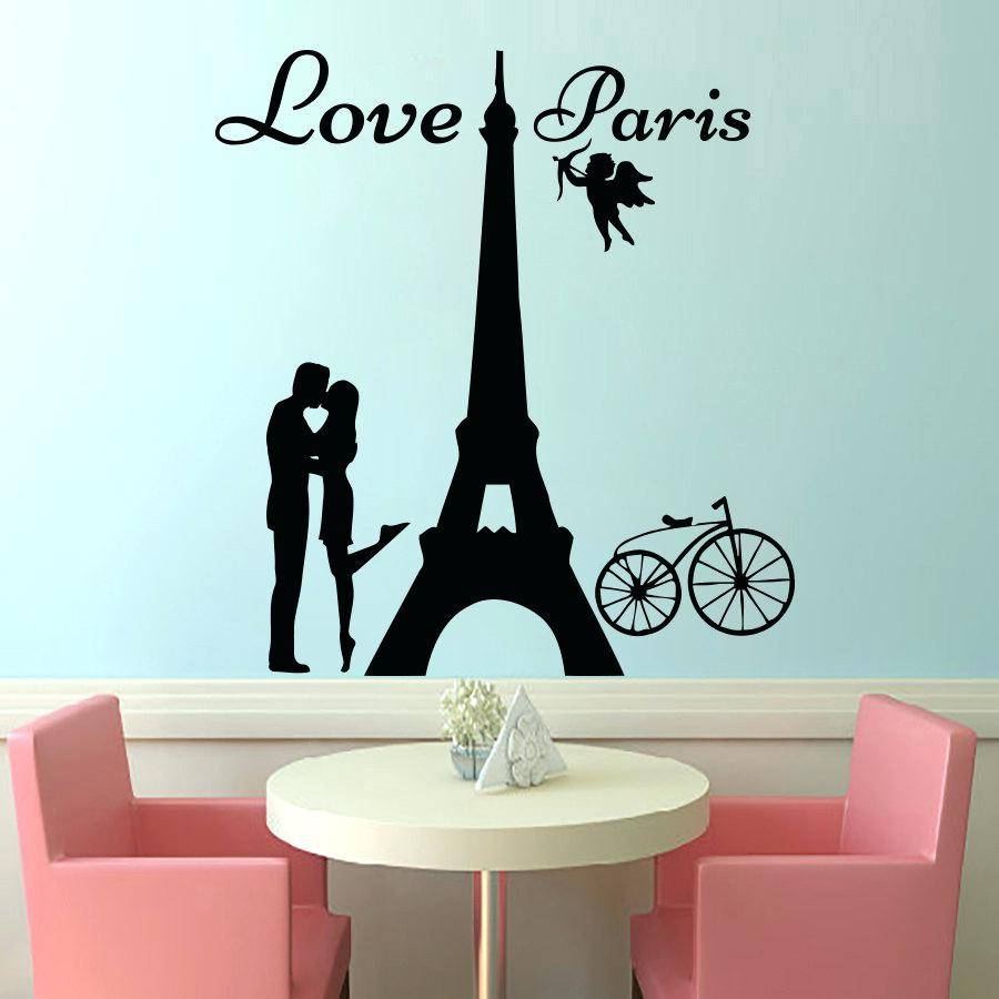 Decals Wall Art Angels Love Lover Kissing And Bike Removable Home With Regard To Current Eiffel Tower Wall Art (View 14 of 20)