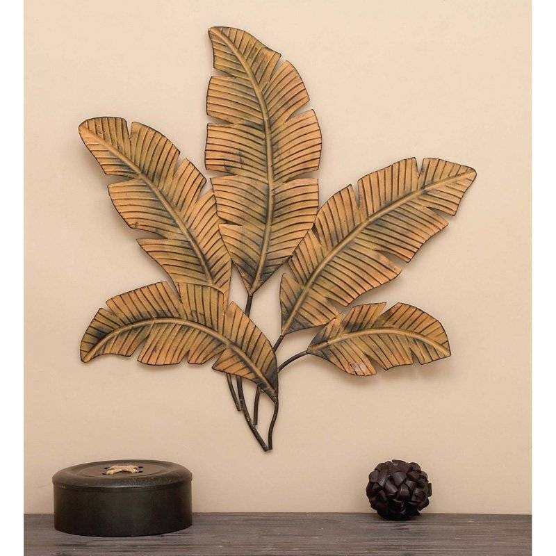 Decmode Metal Palm Leaves Wall Sculpture | Hayneedle For Latest Palm Leaf Wall Decor (View 11 of 25)
