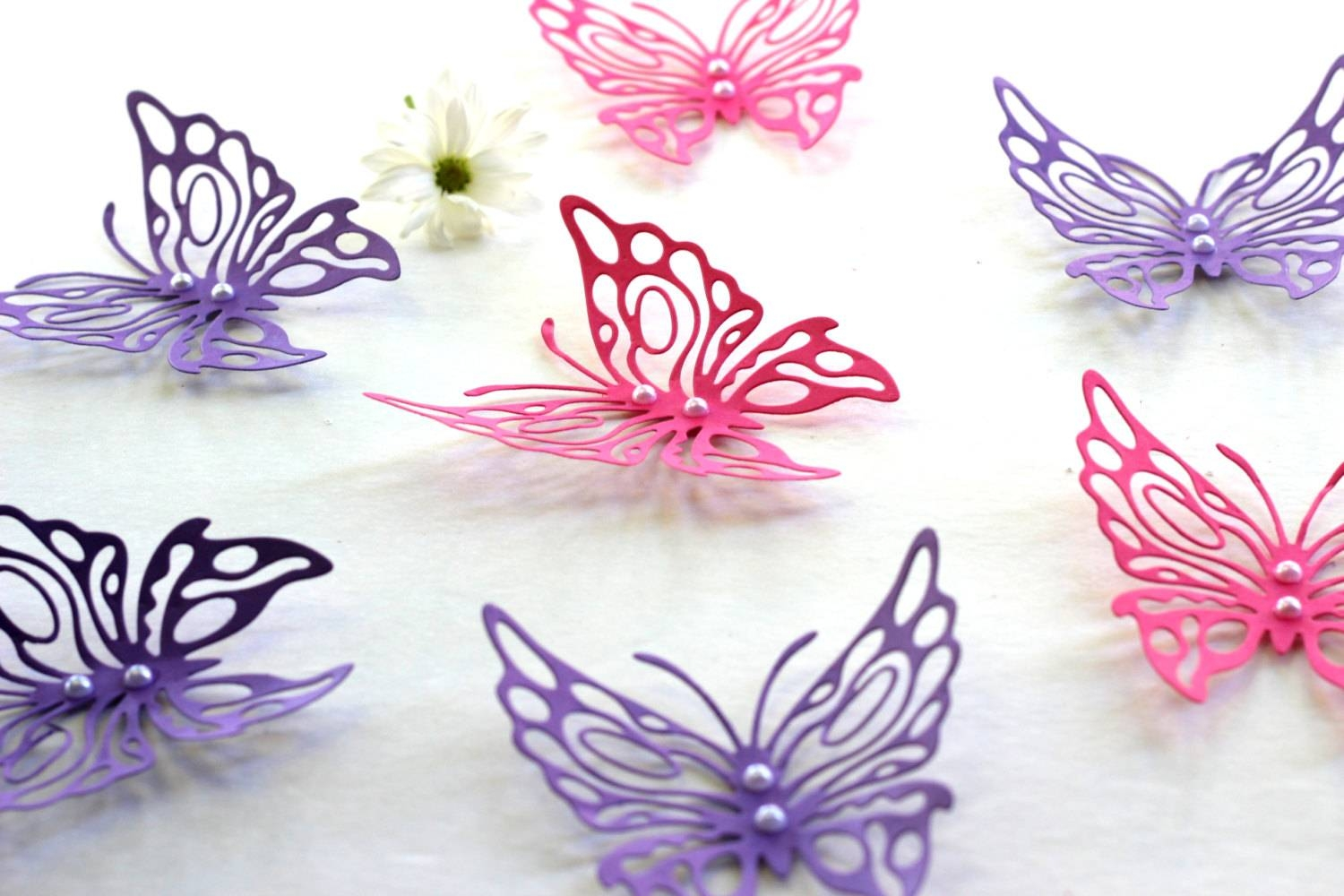 Decor : 45 Butterfly Wall Decor Patterns 3D Butterfly Wall Art Throughout 2018 Pink Butterfly Wall Art (View 8 of 20)