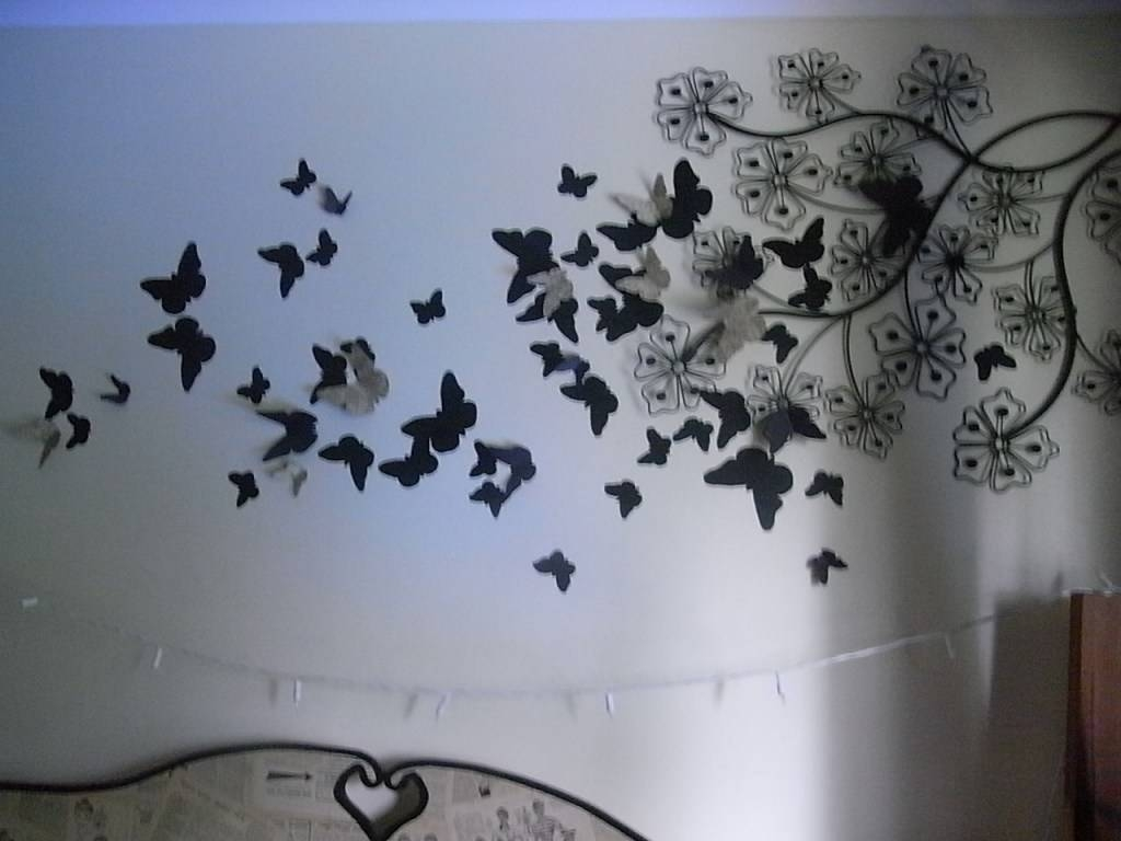 Decor : 75 Butterfly Wall Decor Patterns 3D Wall Art Purple Pertaining To Most Up To Date 3D Wall Art For Bedrooms (View 15 of 20)