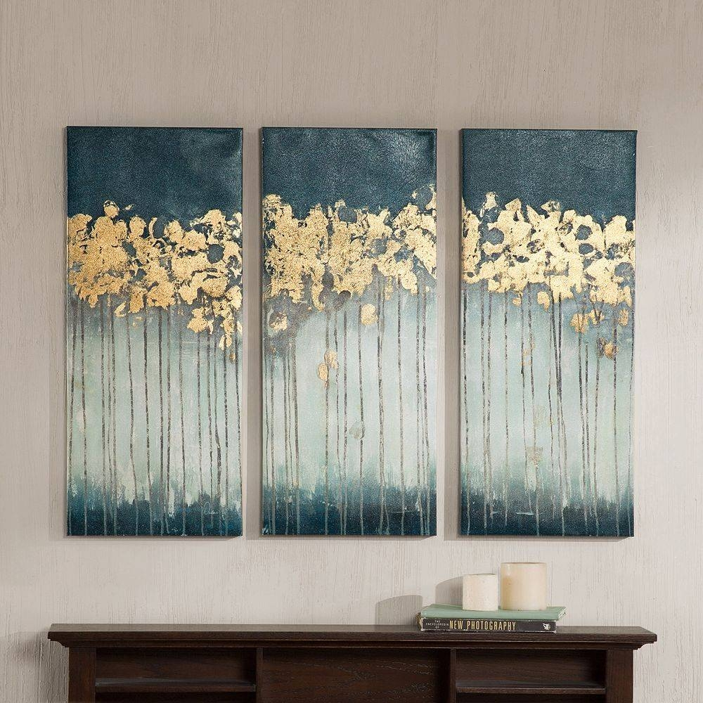 Decor: Flower Canvas Art In White And Blue Three Pieces With Dark In Recent Dark Wood Wall Art (View 6 of 15)