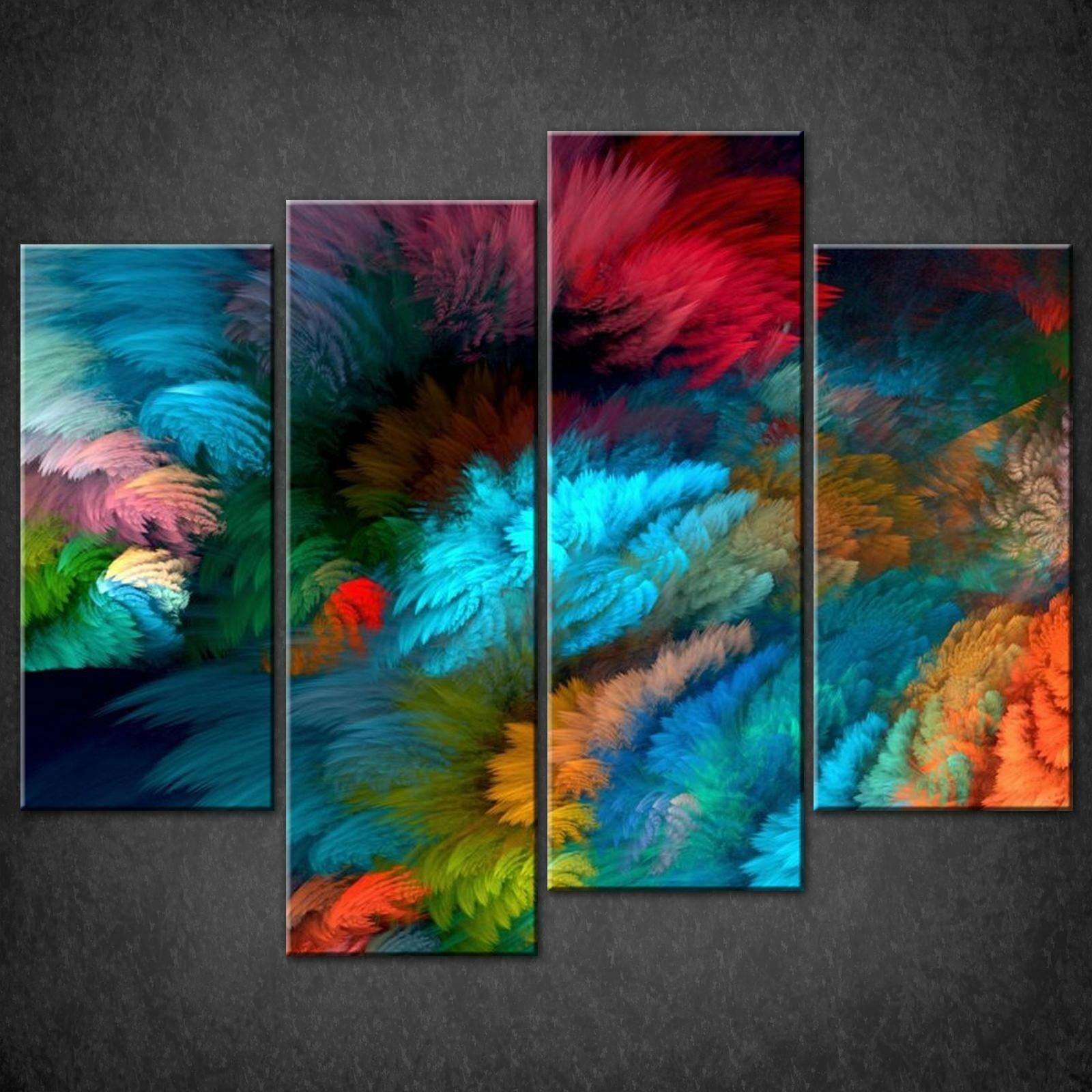 Decor: Large Abstract Colourful Split Canvas Wall Art Pictures Prints Intended For Most Recent Abstract Canvas Wall Art (Gallery 13 of 20)