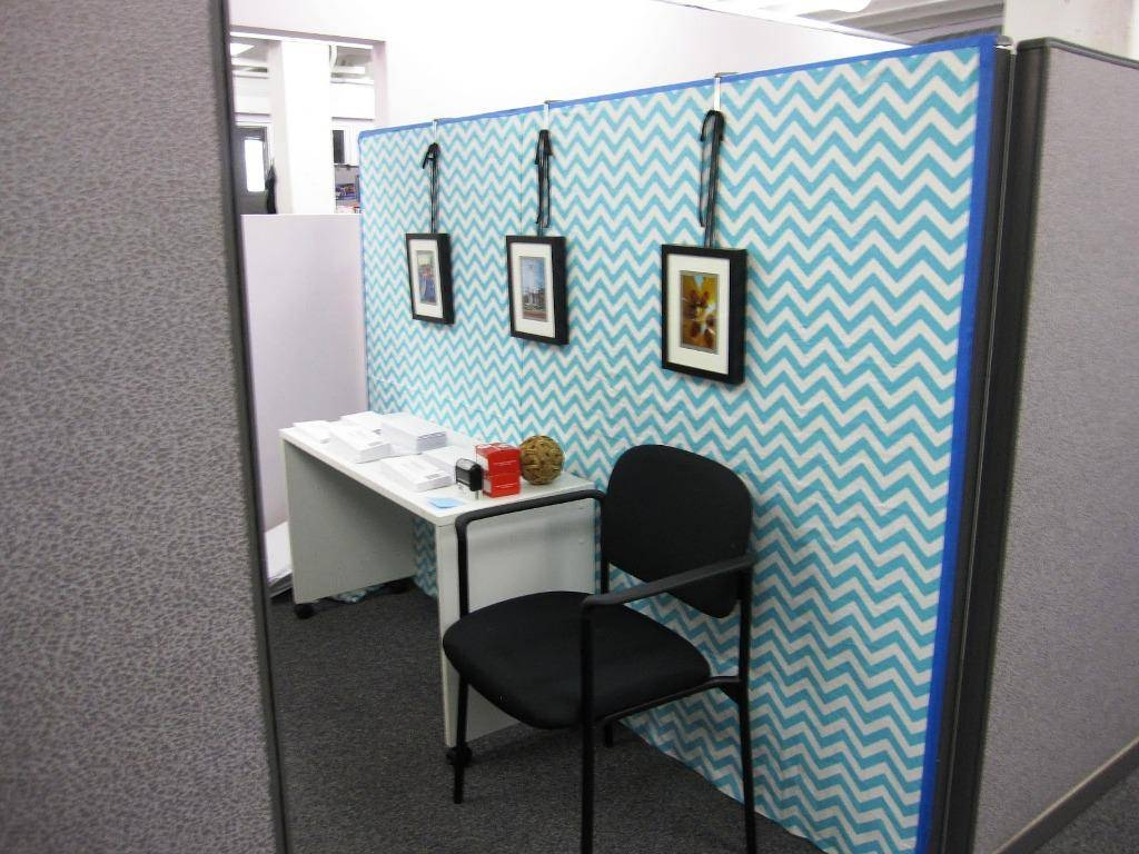 Decor: Light Blue Wallpaper Design Ideas With Cubicle Decorations Within Recent Cubicle Wall Art (View 9 of 20)