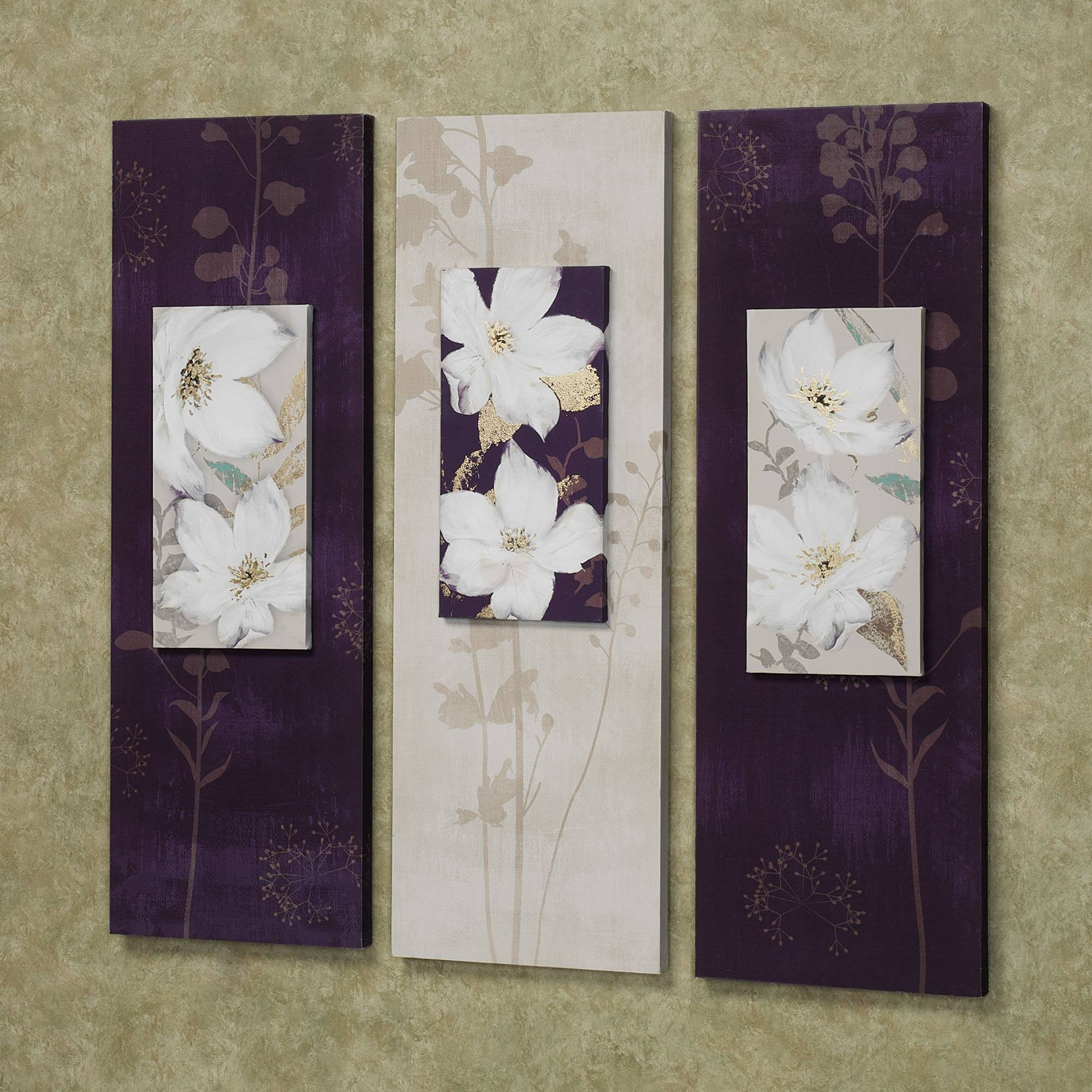 Decor: Purple White Garden Dance Floral Canvas Wall Art Set With Regard To 2018 Floral Wall Art Canvas (View 5 of 20)