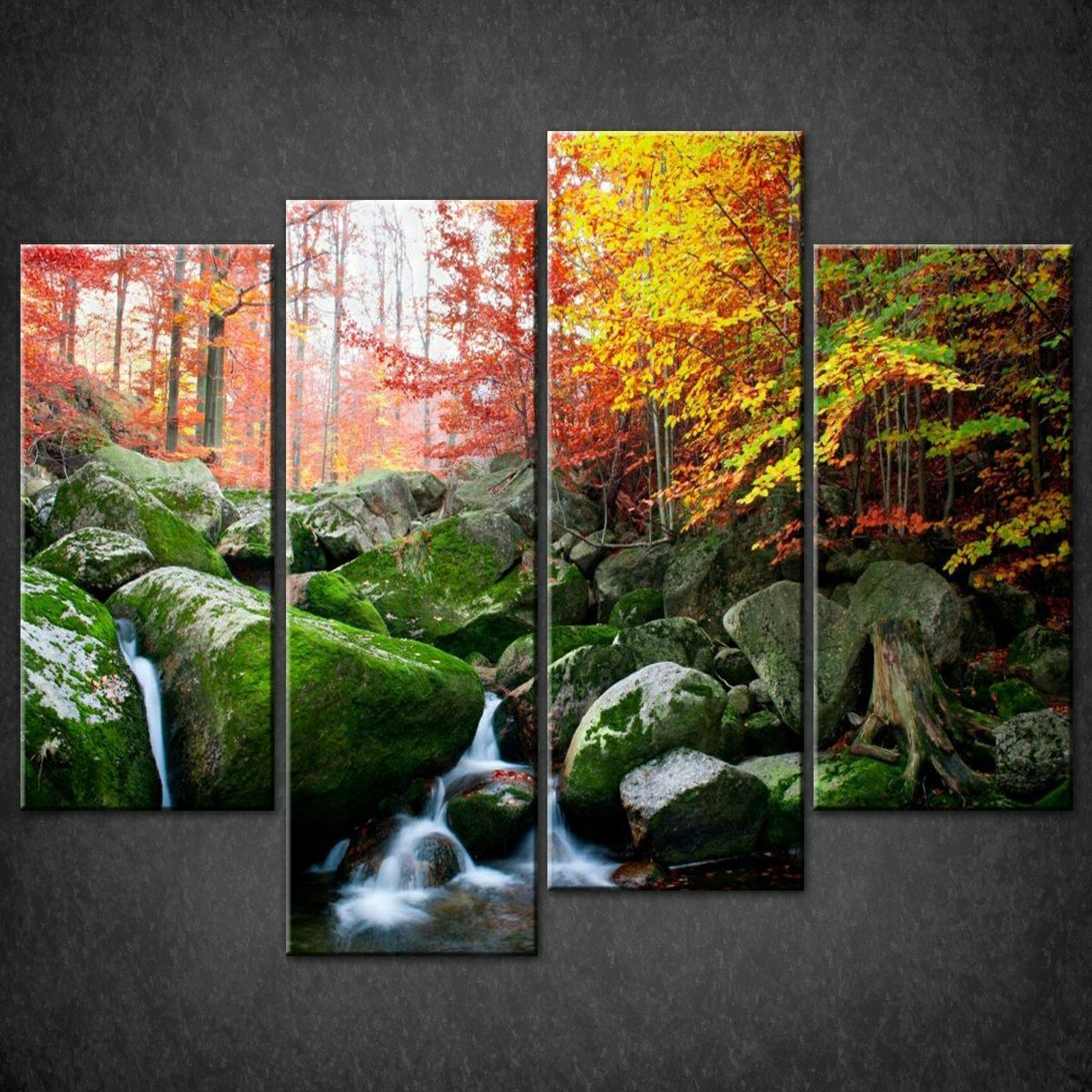 Decor: River Autumn Forest Split Canvas Wall Art Pictures Prints With Regard To 2018 Canvas Landscape Wall Art (View 13 of 20)