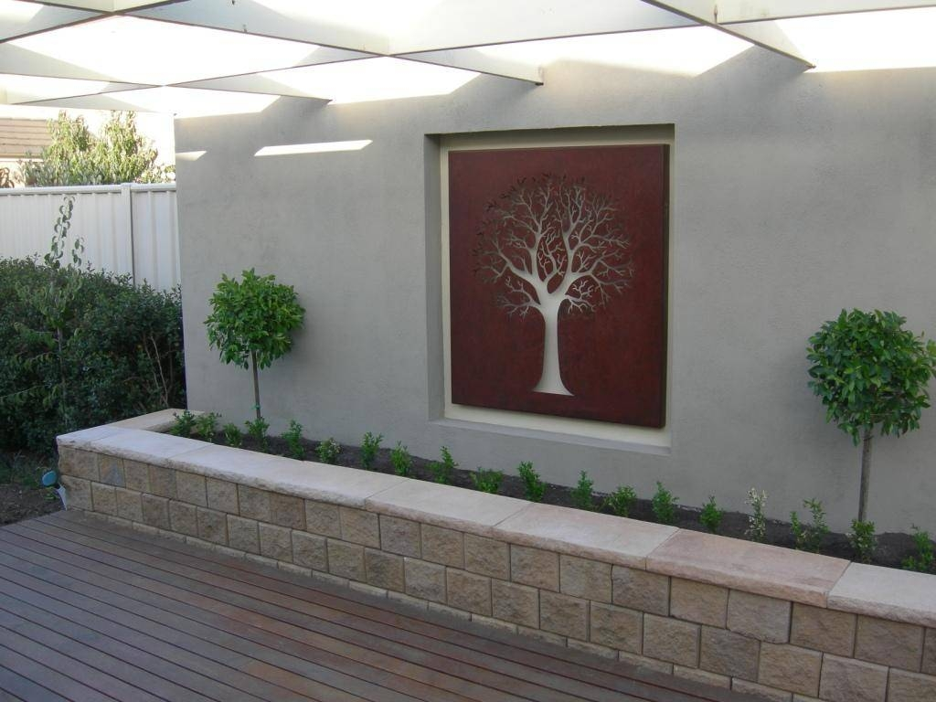 Decorations : Unique Garden With Modern Design Using White Outdoor With Regard To Best And Newest Modern Outdoor Wall Art (View 7 of 20)